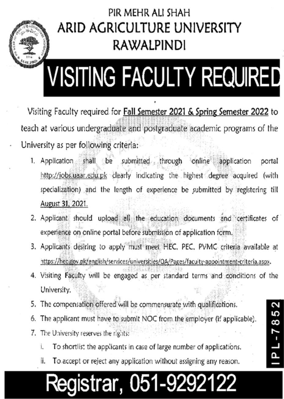 ARID Agriculture University Rawalpindi Vacancies 2021 3