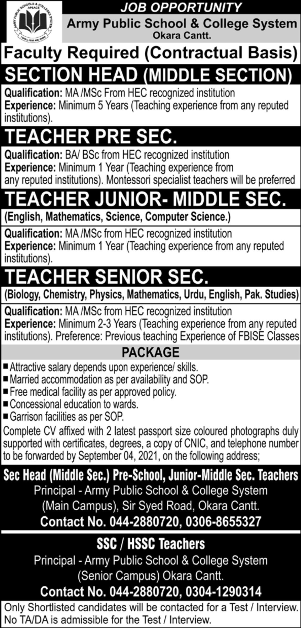 Army Public School & College System Okara Vacancies 2021 1