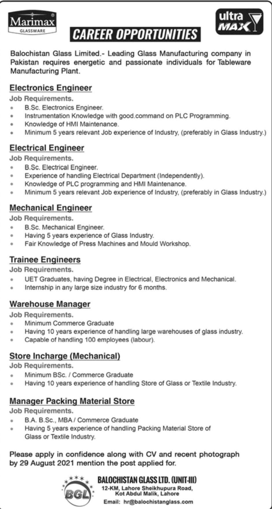Balochistan Glass Limited Vacancies 2021 2