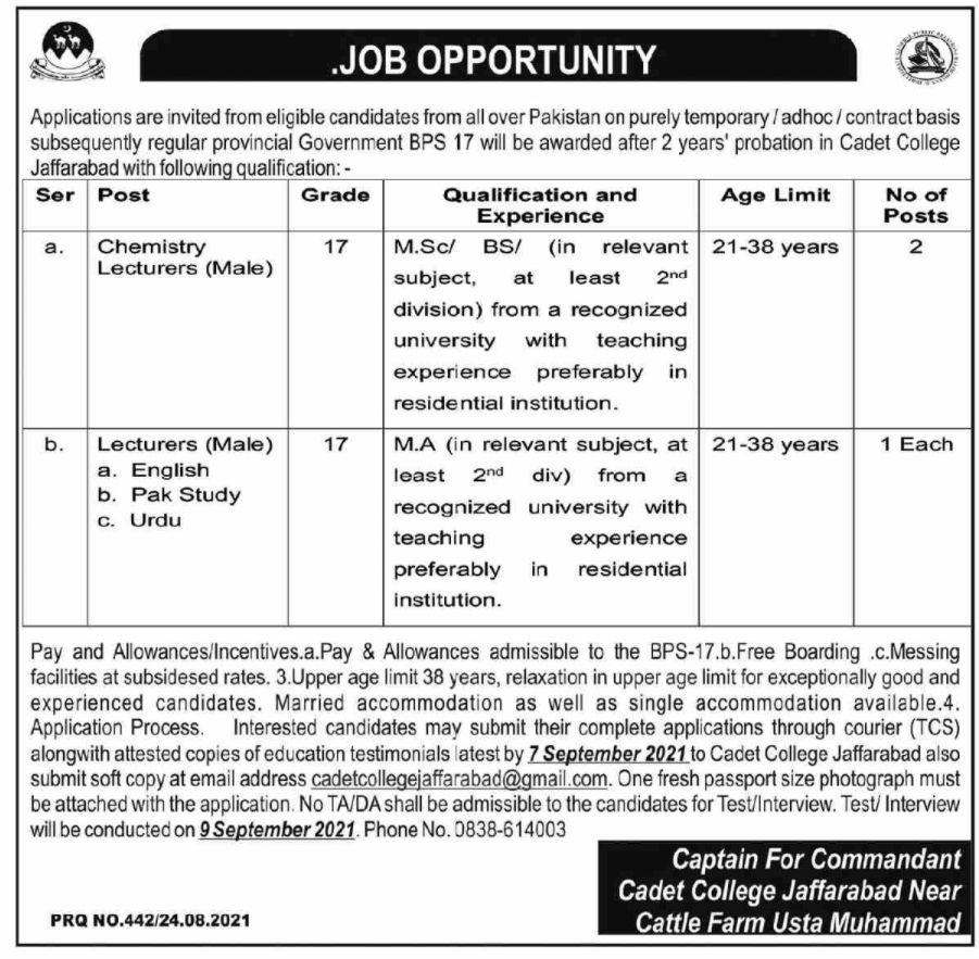 Cadet College Jaffarabad Vacancies 2021 2