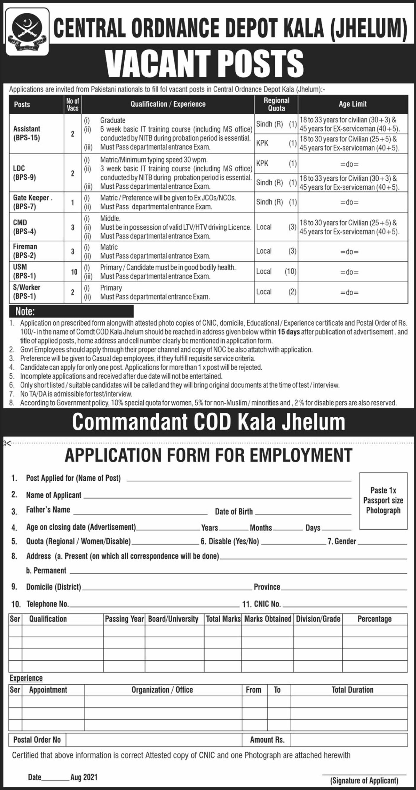 Central Ordnance Depot Kala Vacancies 2021 1