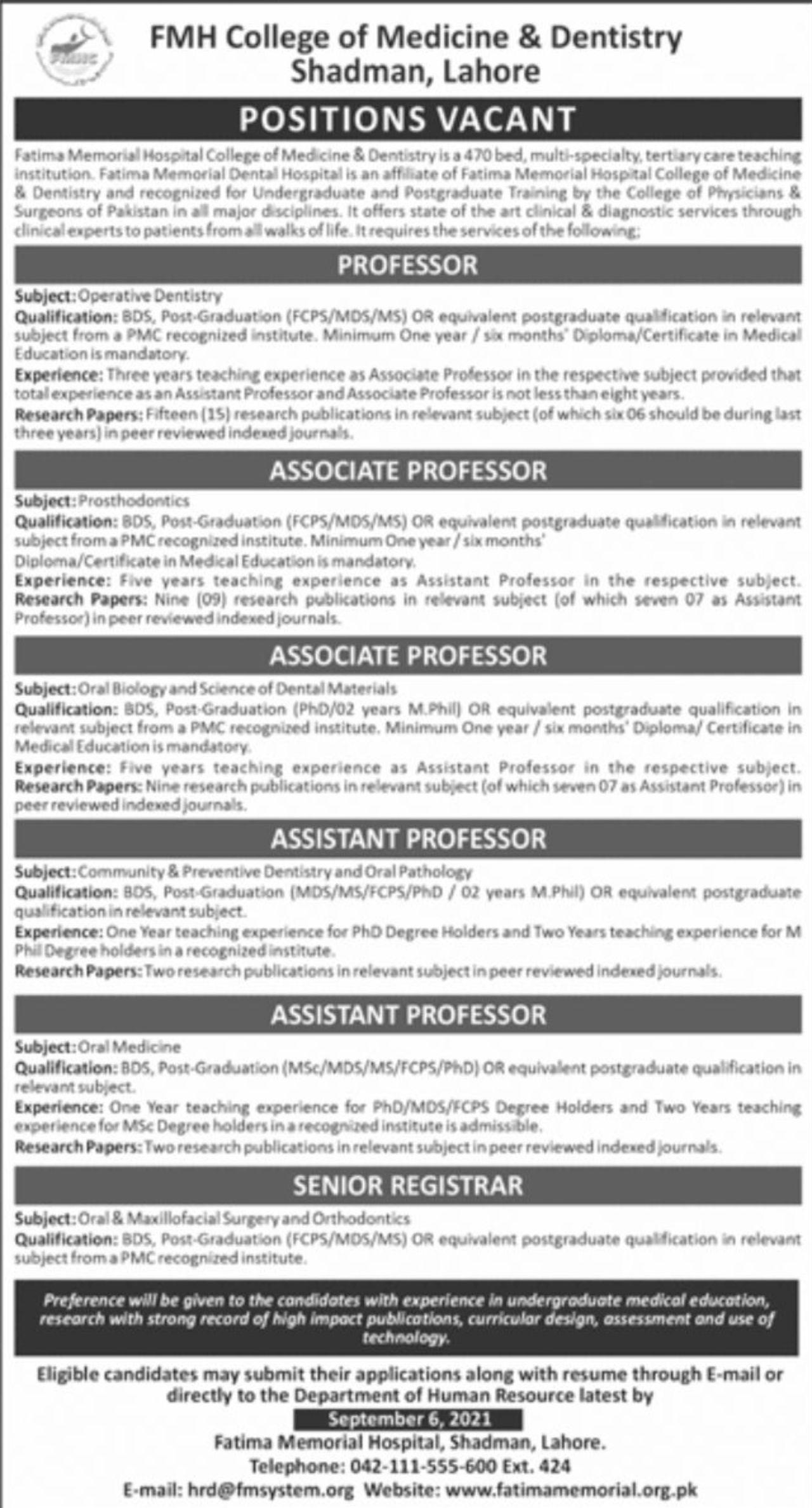 FMH College of Medicine & Dentistry Shadman Lahore Vacancies 2021 3
