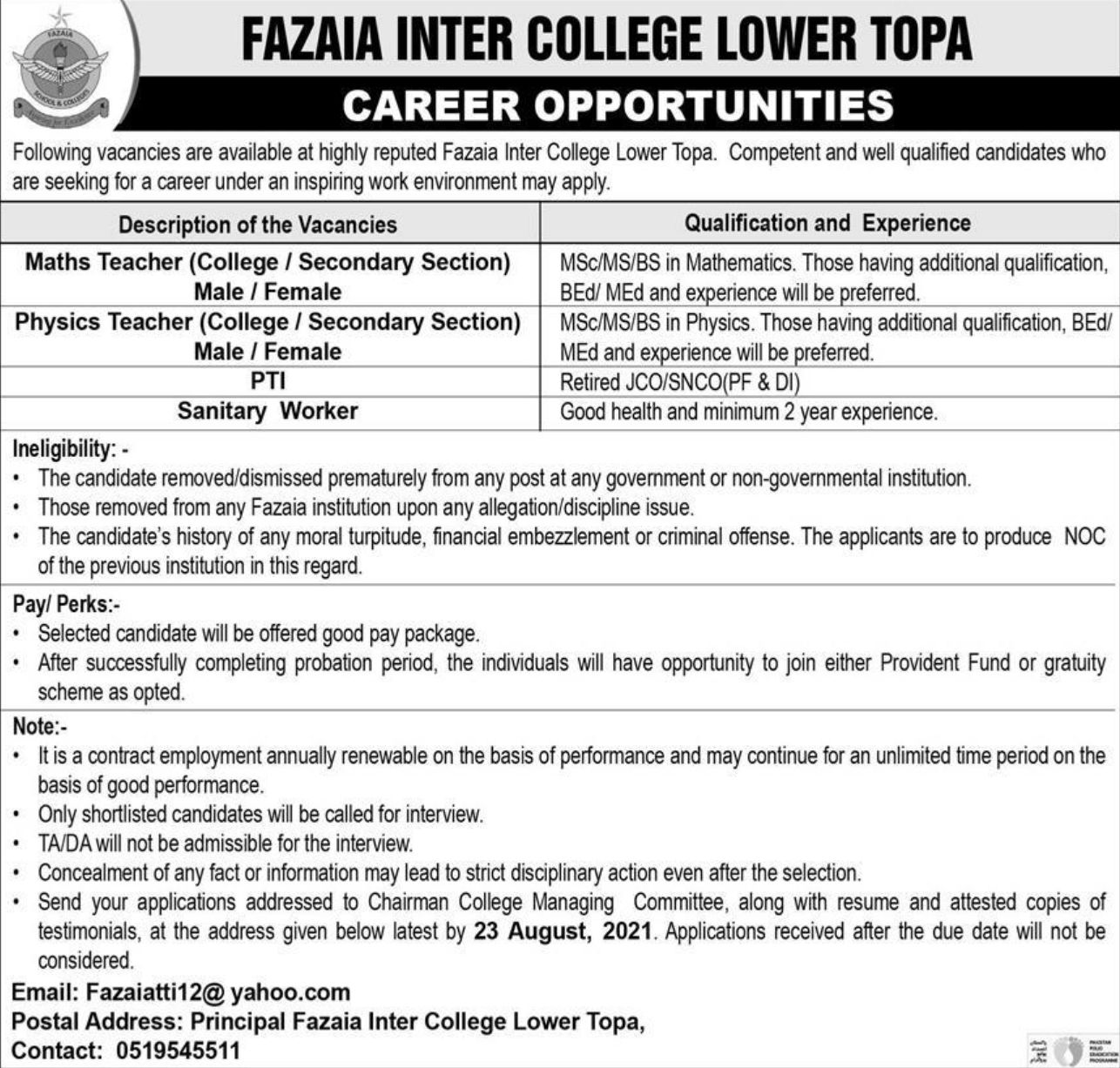 Fazaia Inter College Lower Topa Vacancies 2021 2