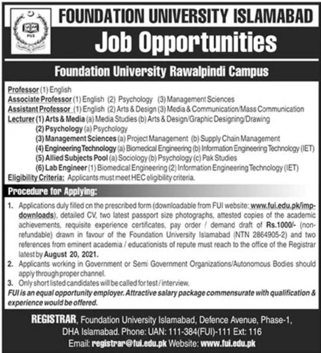 Foundation University Islamabad Vacancies 2021 2