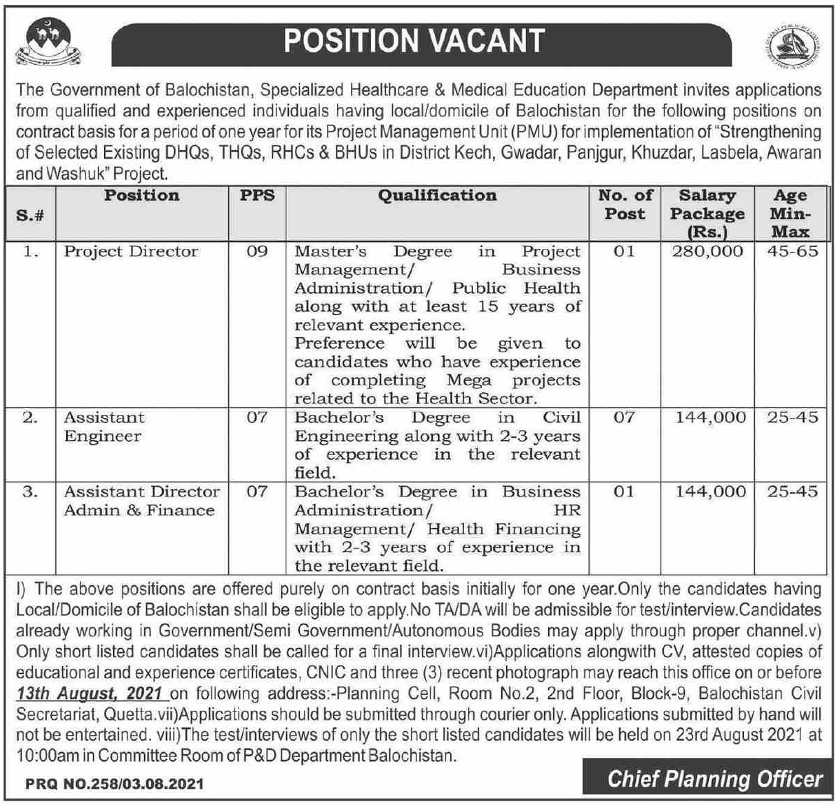 The Government of Balochistan Specialized Healthcare & Medical Education Department Vacancies 2021 1