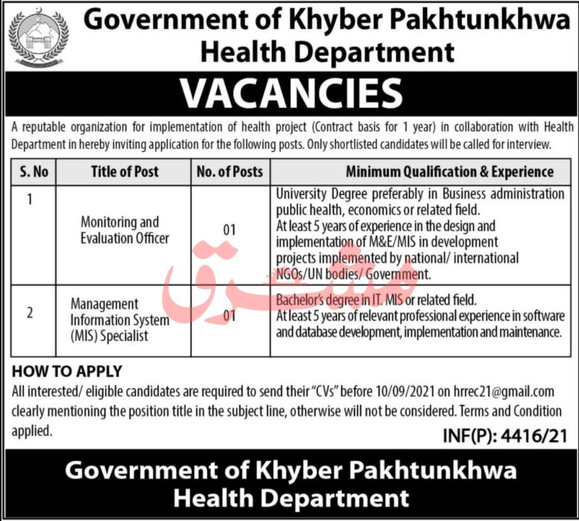 Government of Khyber Pakhtunkhwa Health Department Vacancies 2021 3
