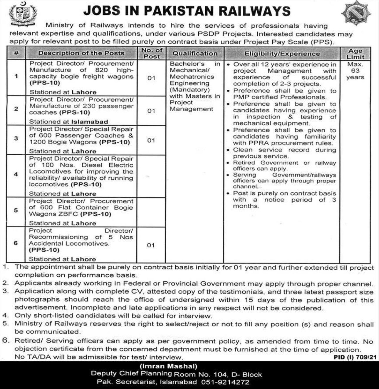 Government of Pakistan – Ministry of Railways Vacancies 2021 3