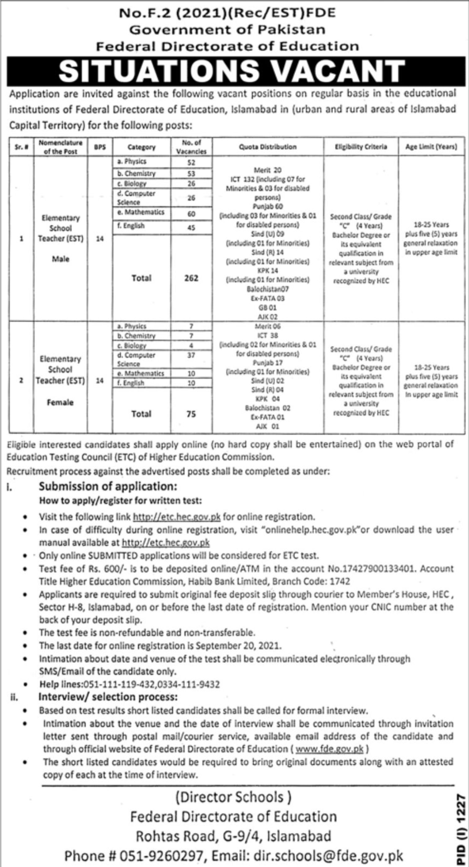 Government of Pakistan Federal Directorate of Education Vacancies 2021 3