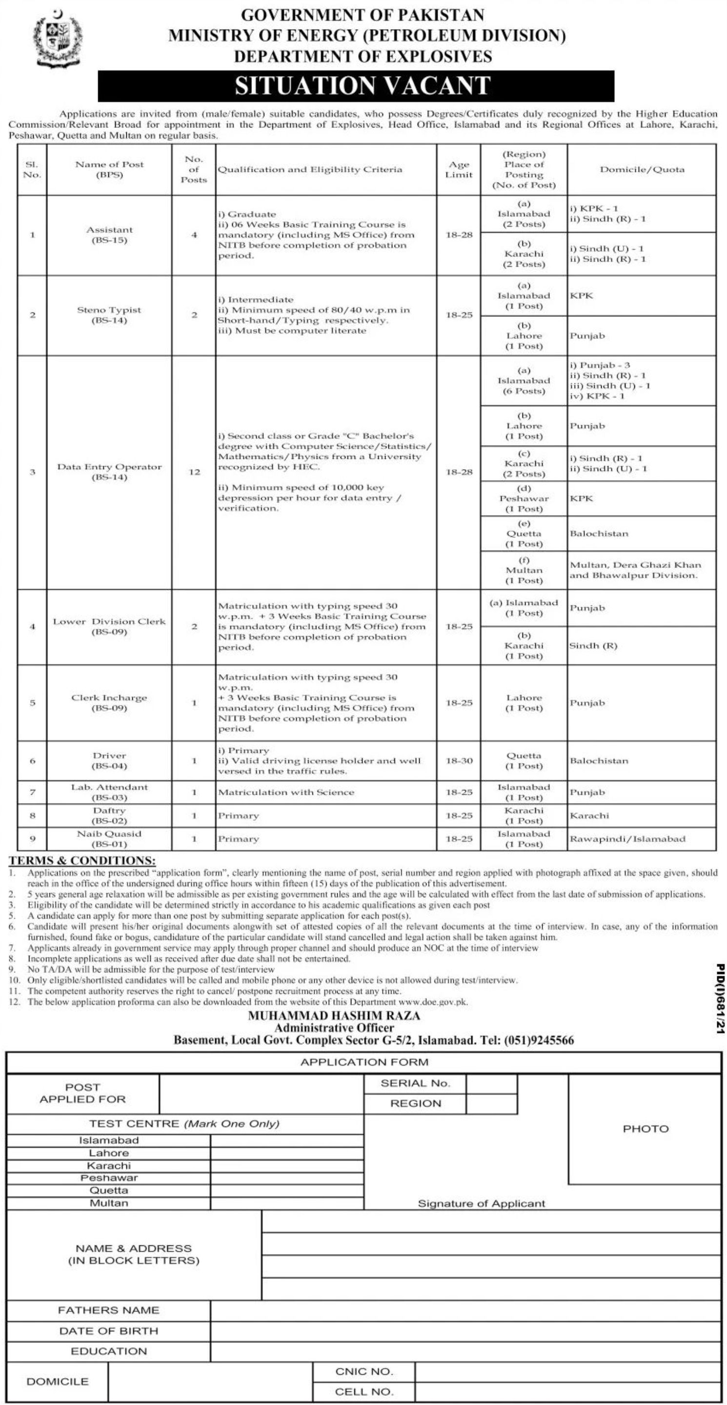 Government of Pakistan Ministry of Energy Petroleum Division Vacancies 2021 3