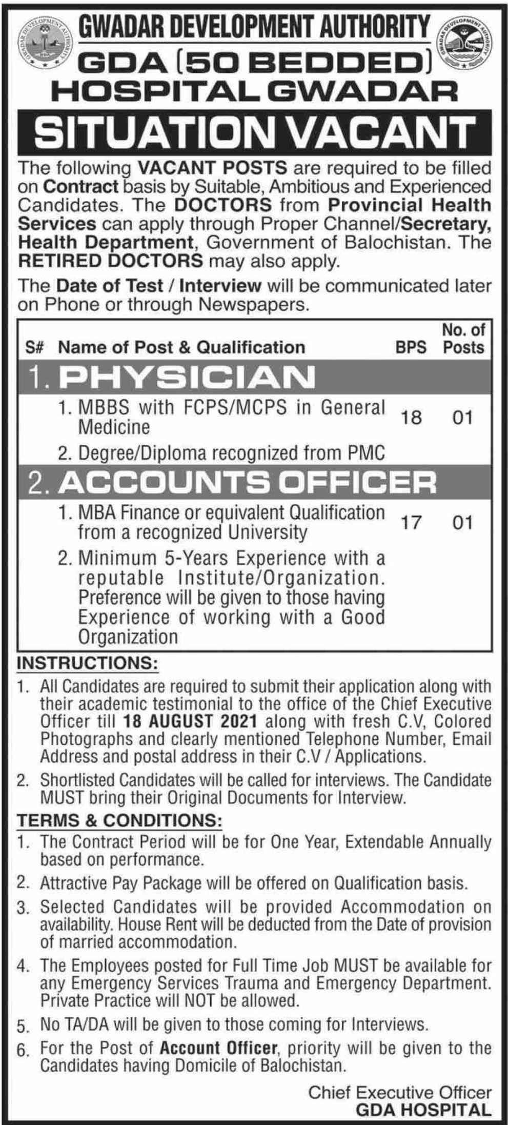 Gwadar Development Authority Vacancies 2021 2