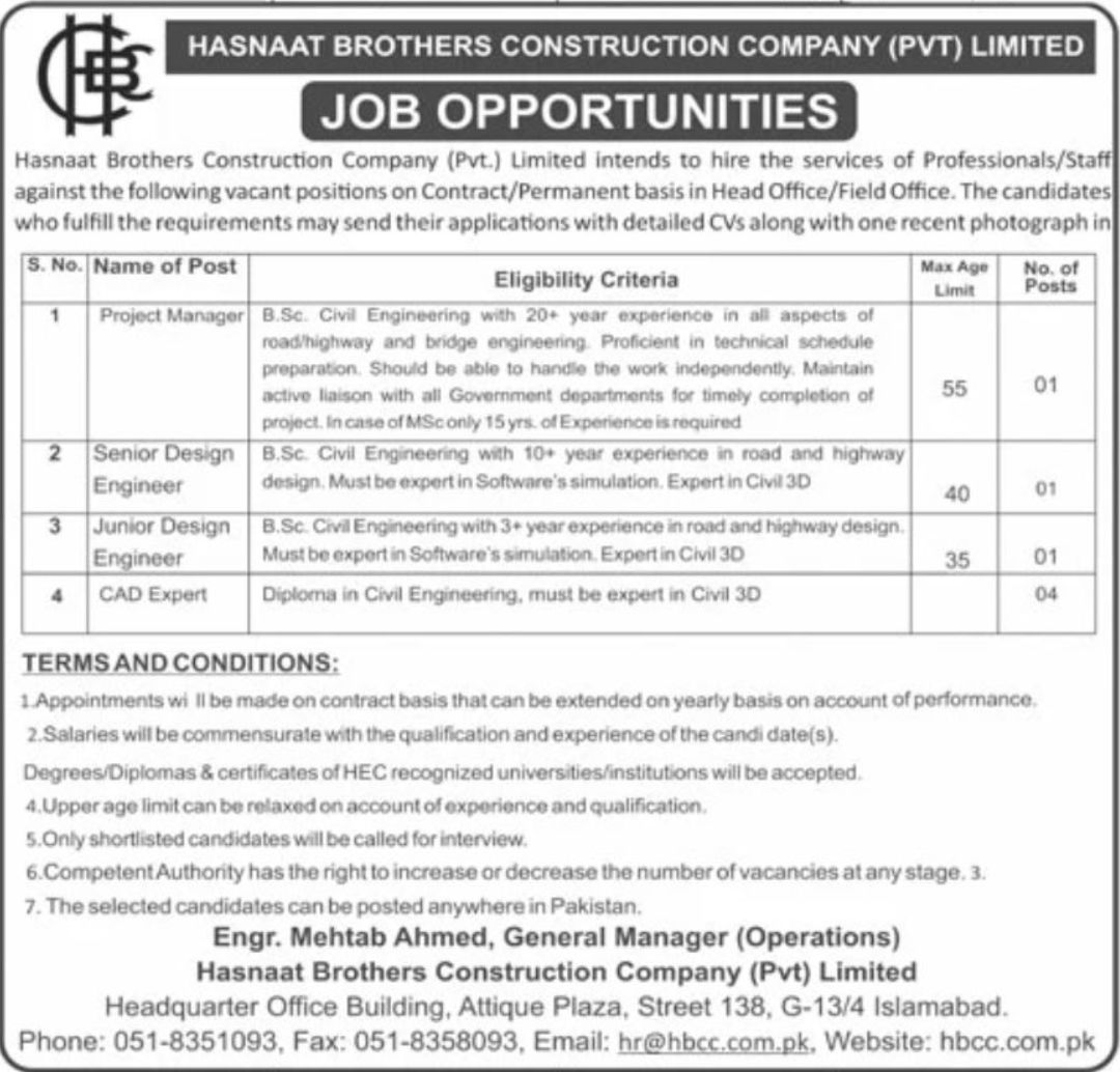Hasnaat Brothers Construction Company Pvt Limited Vacancies 2021 1