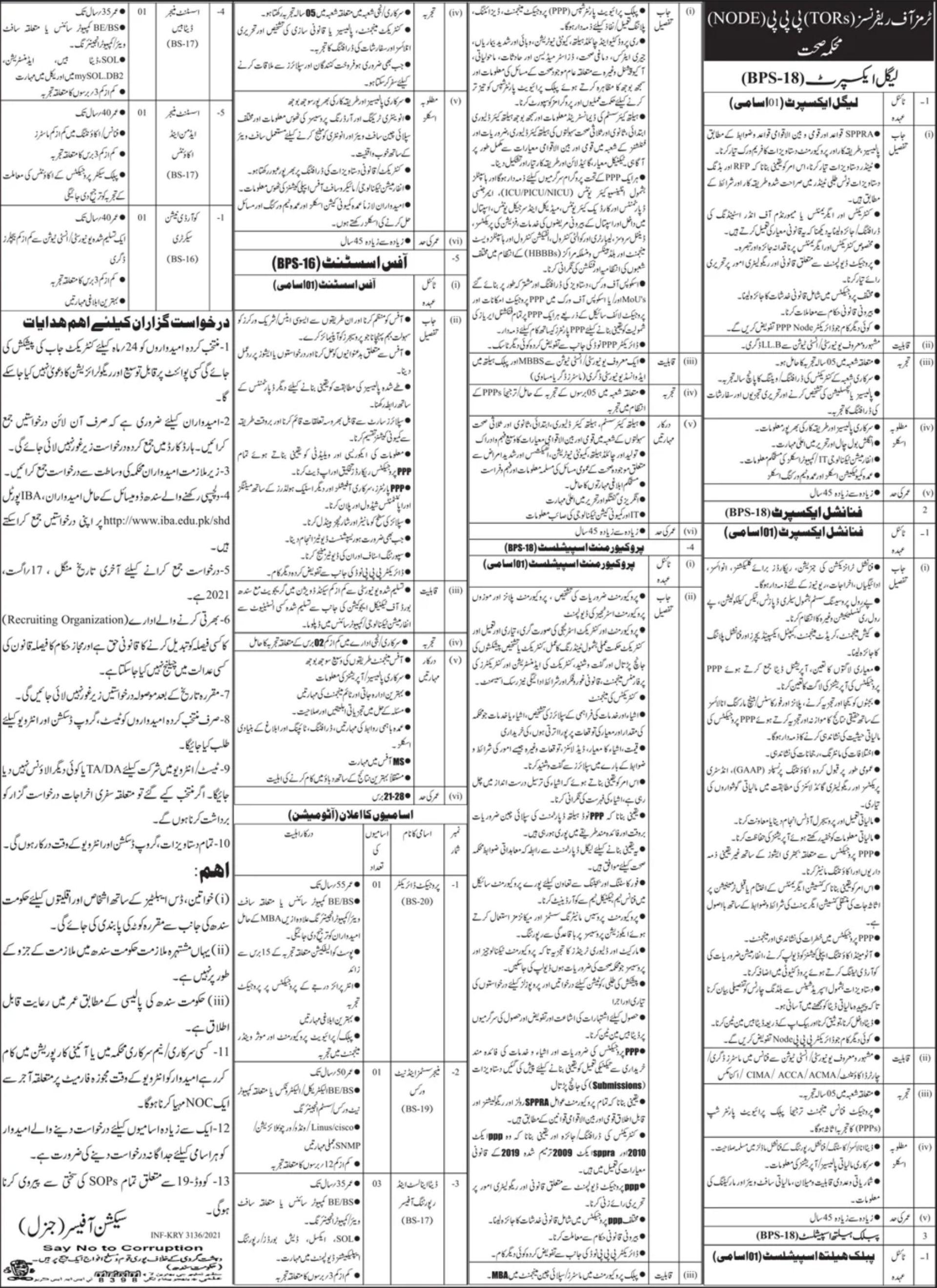 Health Department Sindh Vacancies 2021 1
