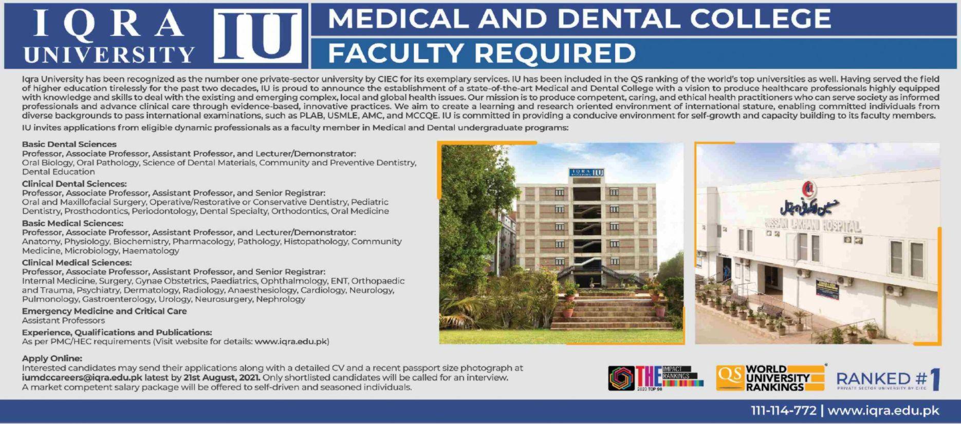 IQRA University IU Vacancies 2021 2