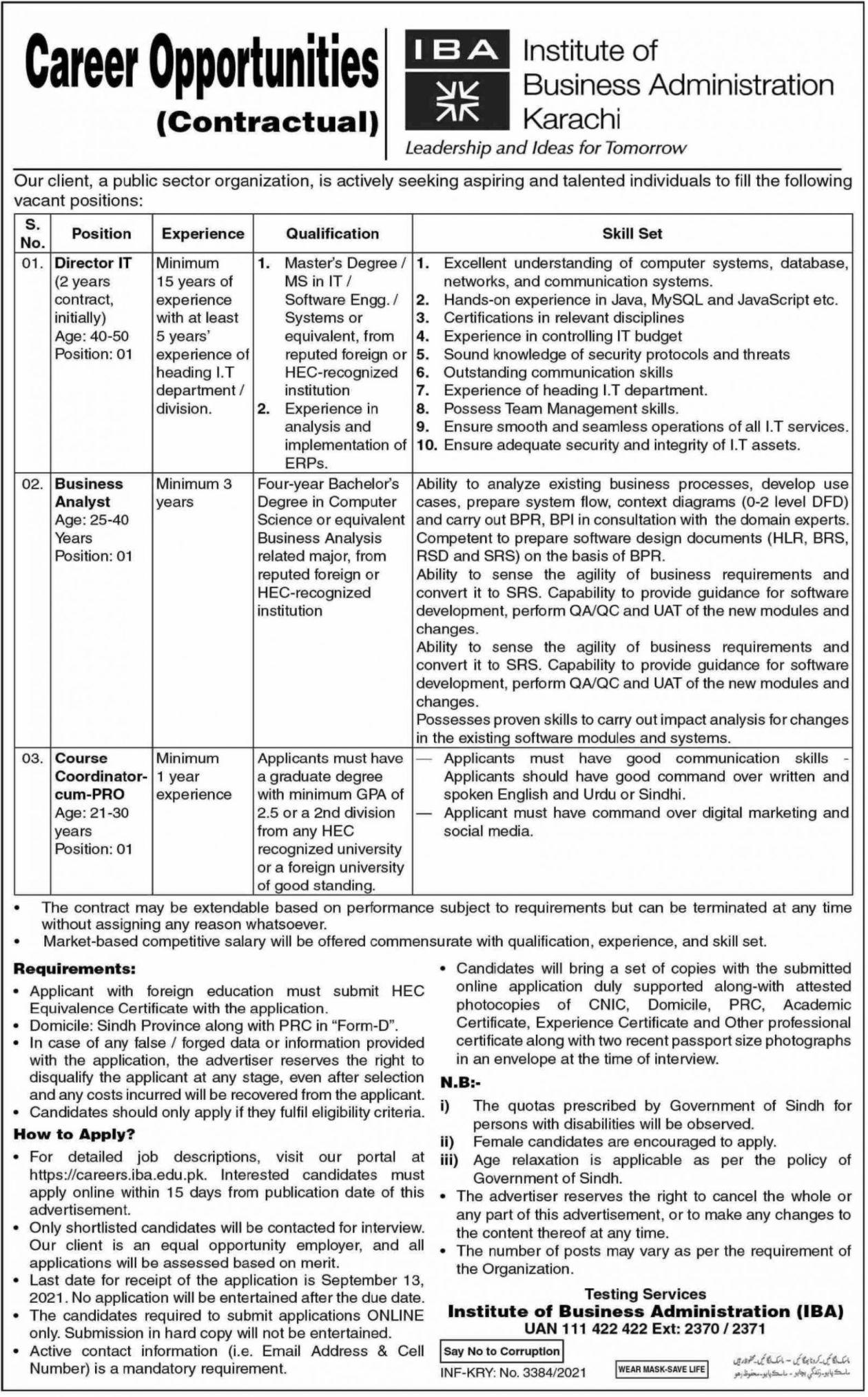 Institute of Business Administration Karachi Vacancies 2021 3