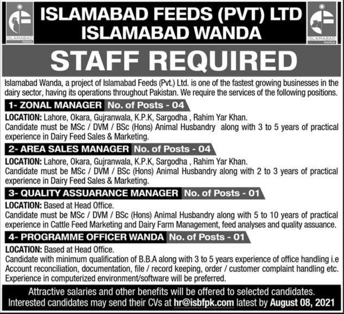 Islamabad Feeds Pvt Ltd Islamabad Wanda Vacancies 2021 1