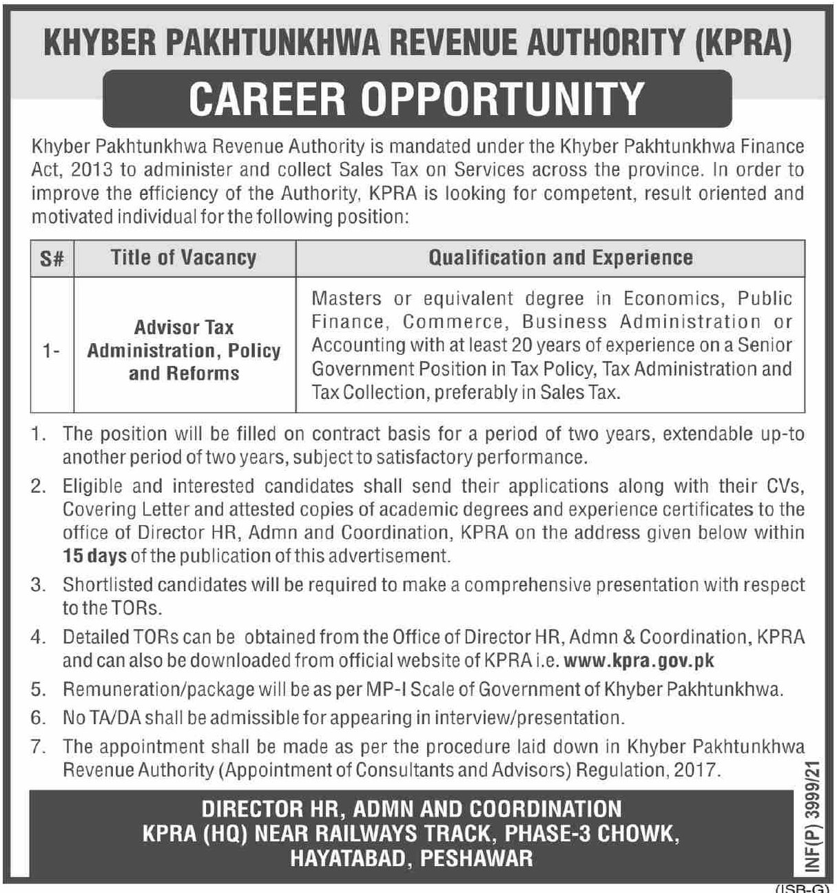 Khyber Pakhtunkhwa Revenue Authority KPRA Vacancies 2021 1