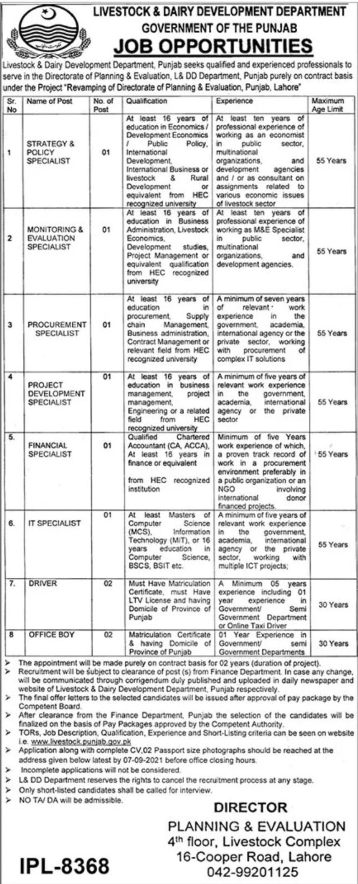 Livestock & Dairy Development Department Government of the Punjab Vacancies 2021 2