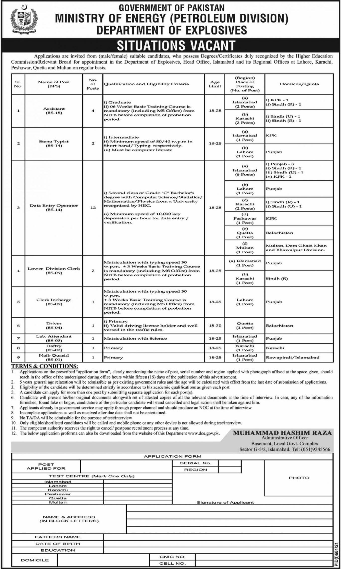 Ministry of Energy petroleum Division Vacancies 2021 2