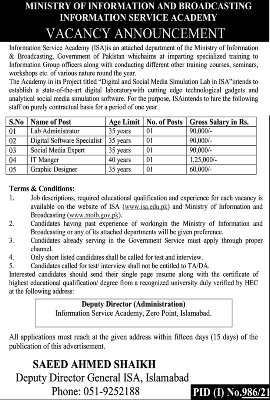 Ministry of Information and Broadcasting Information Services Academy Vacancies 2021 2