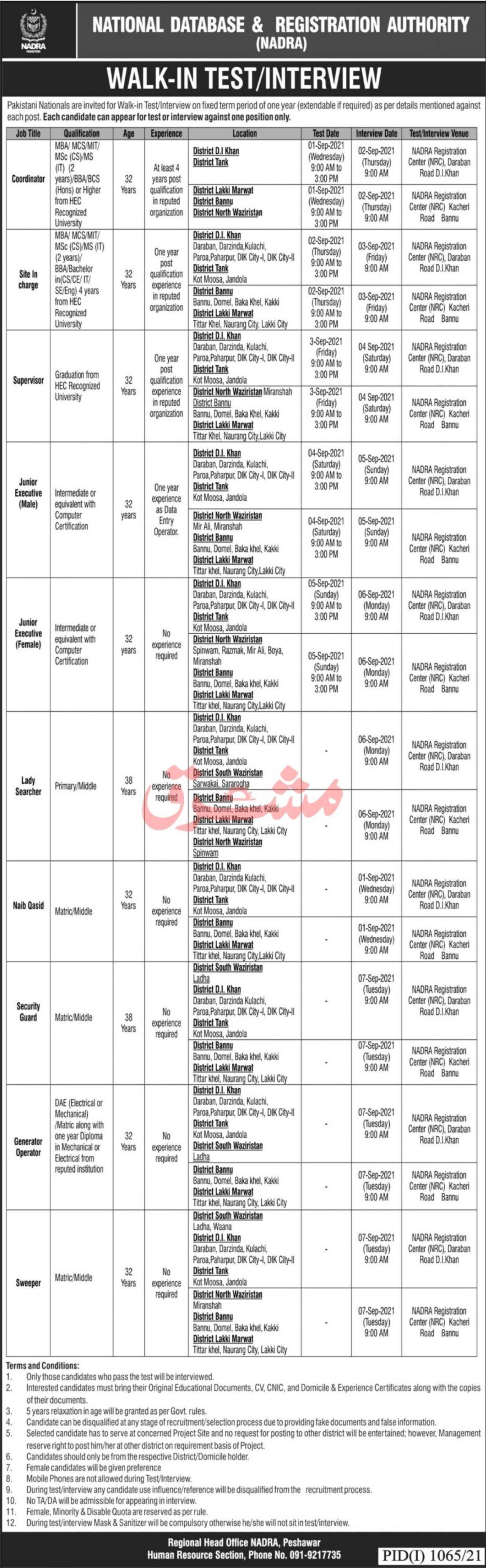 National Database & Registration Authority NADRA Vacancies 2021 1