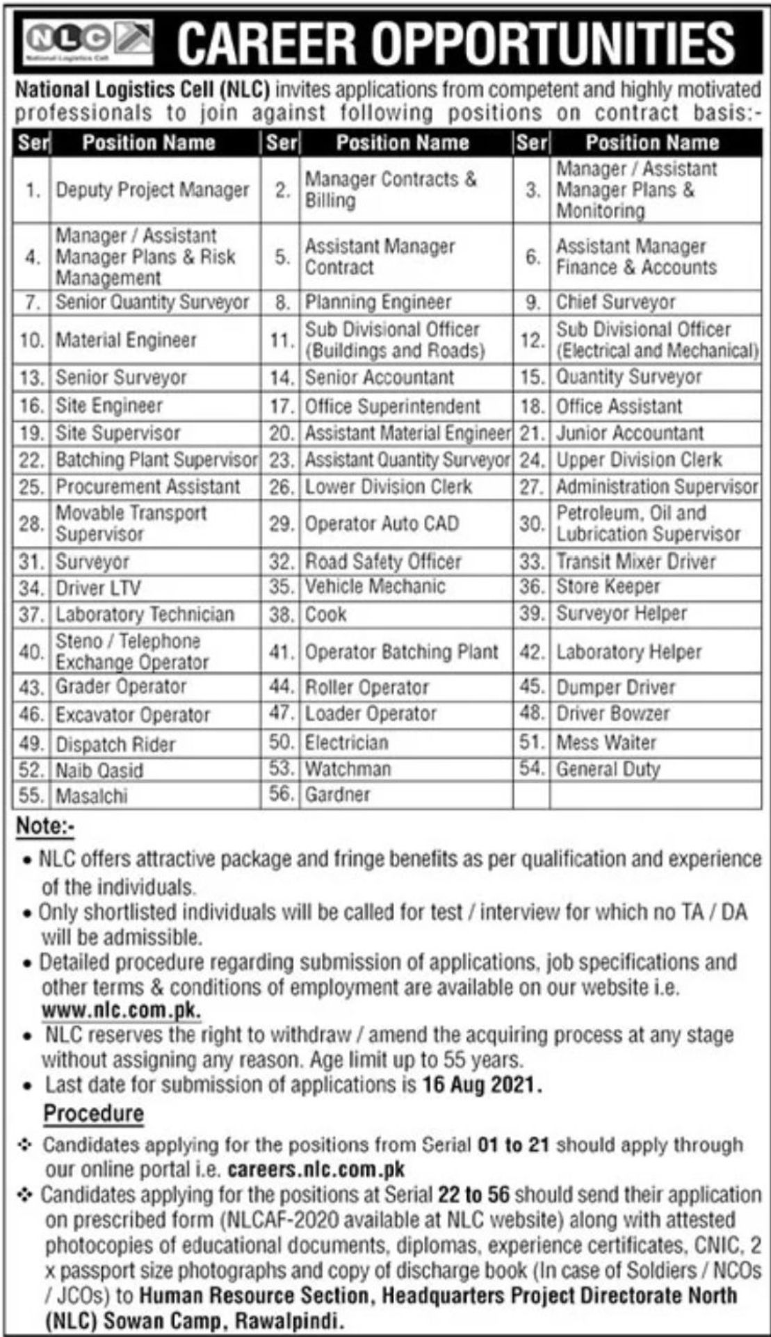 National Logistic Cell (NLC) Vacancies 2021 3