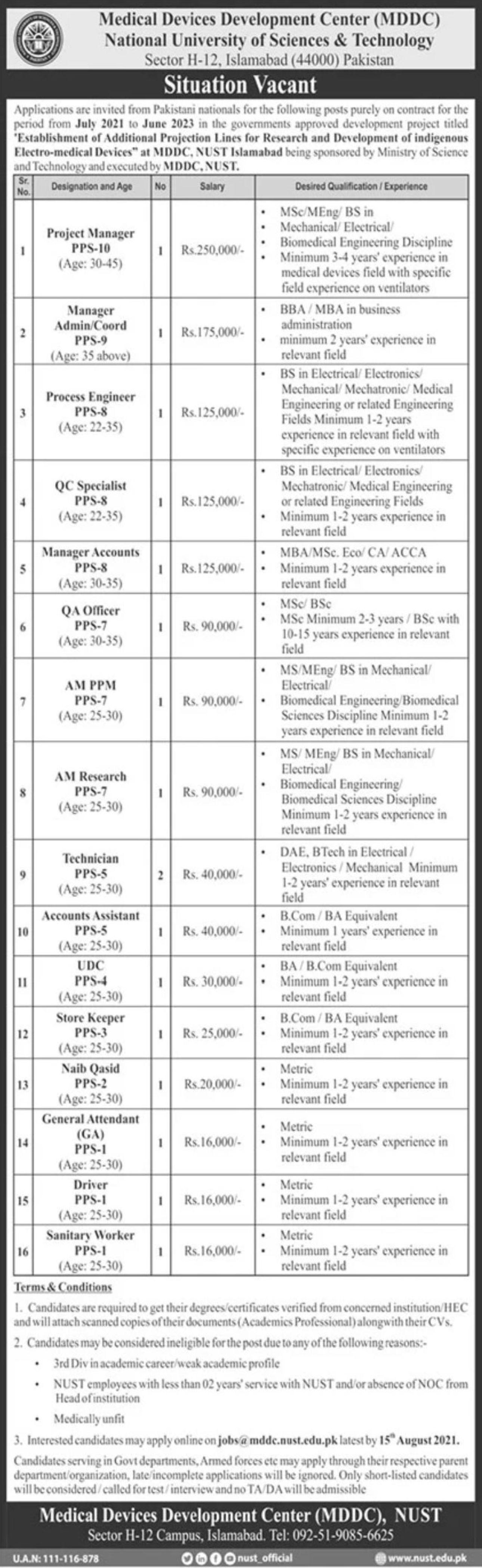 National University of Sciences & Technology Islamabad Vacancies 2021 3