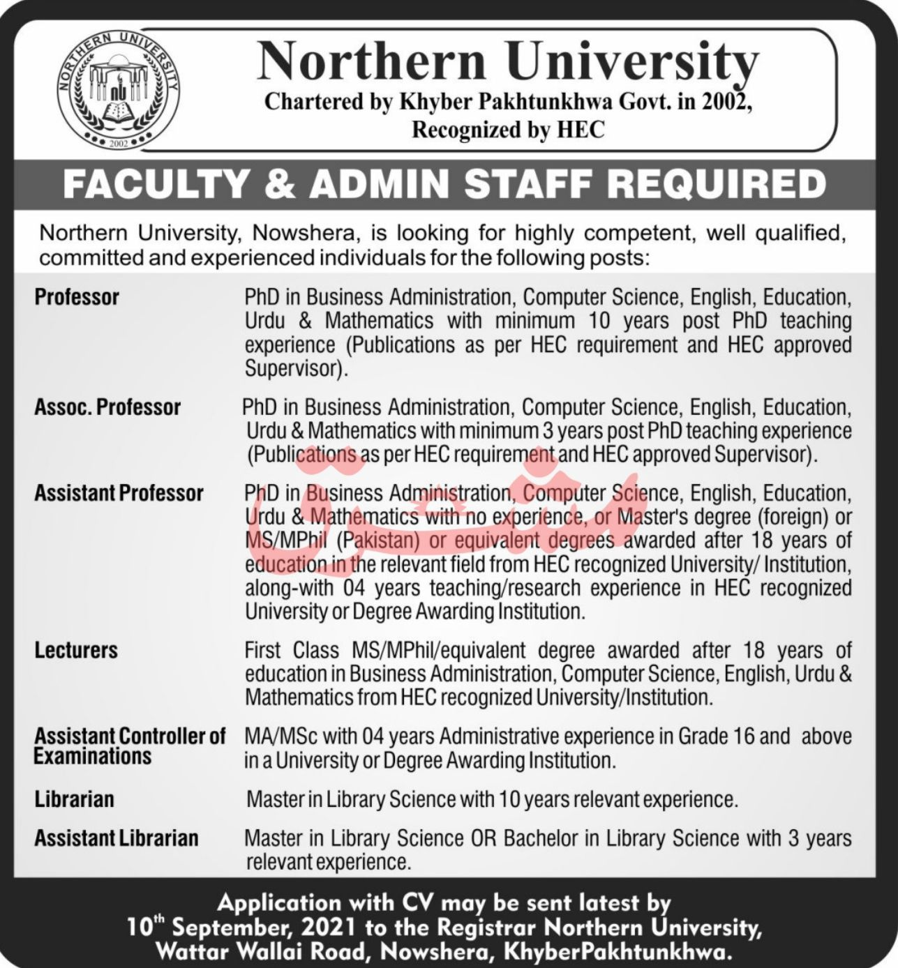 Northern University Vacancies 2021 | 2