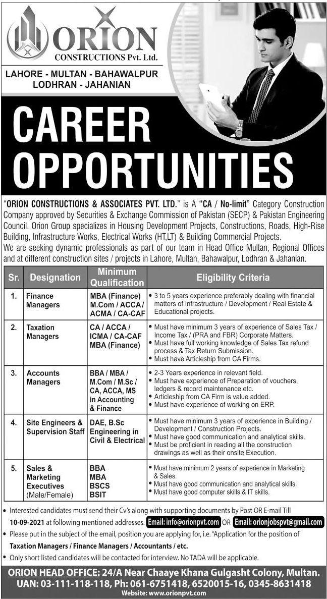 Orion Constructions & Associates Pvt Ltd Vacancies 2021 2