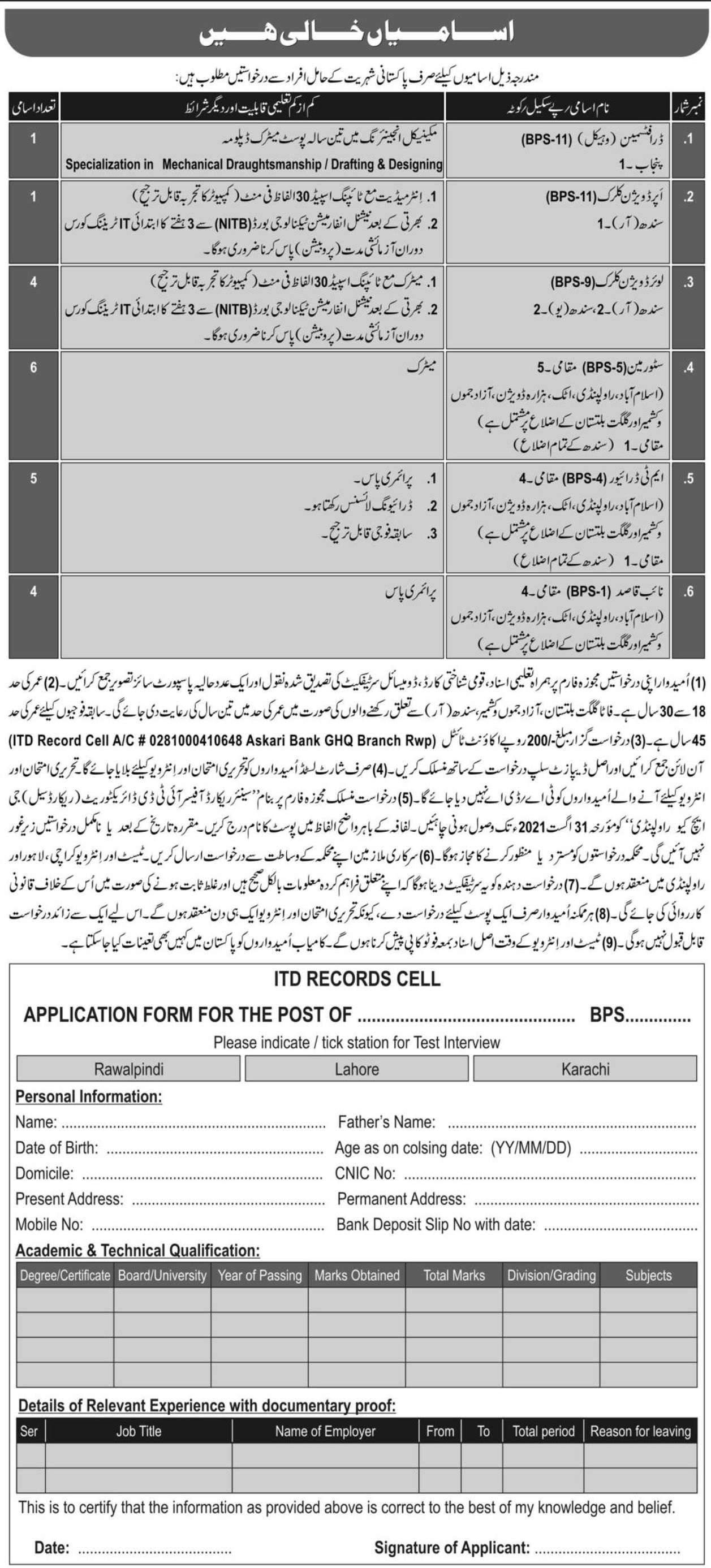 Pakistan Army Civil Sector Vacancies 2021 1
