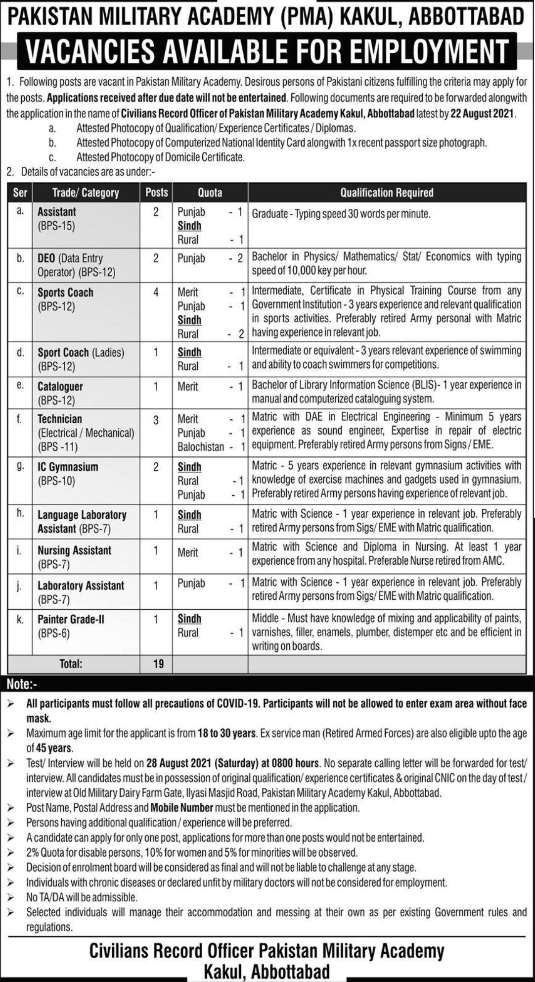 Pakistan Military Academy PMA Kakul Vacancies 2021 3