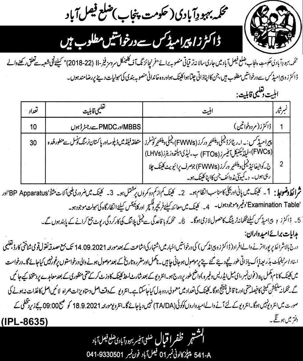 Population Welfare Department Vacancies 2021 2