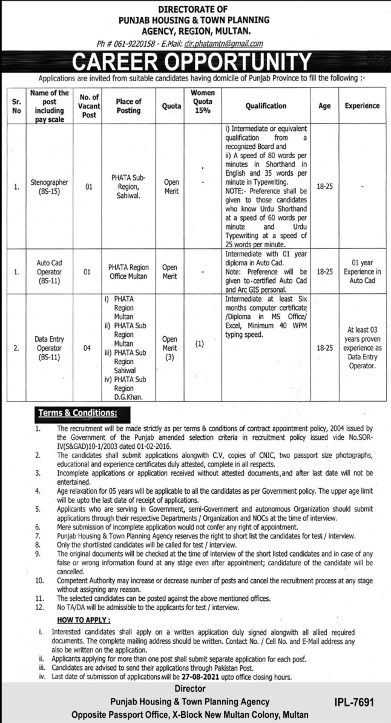 Punjab Housing & Town Planning Agency Multan Jobs 2021 3