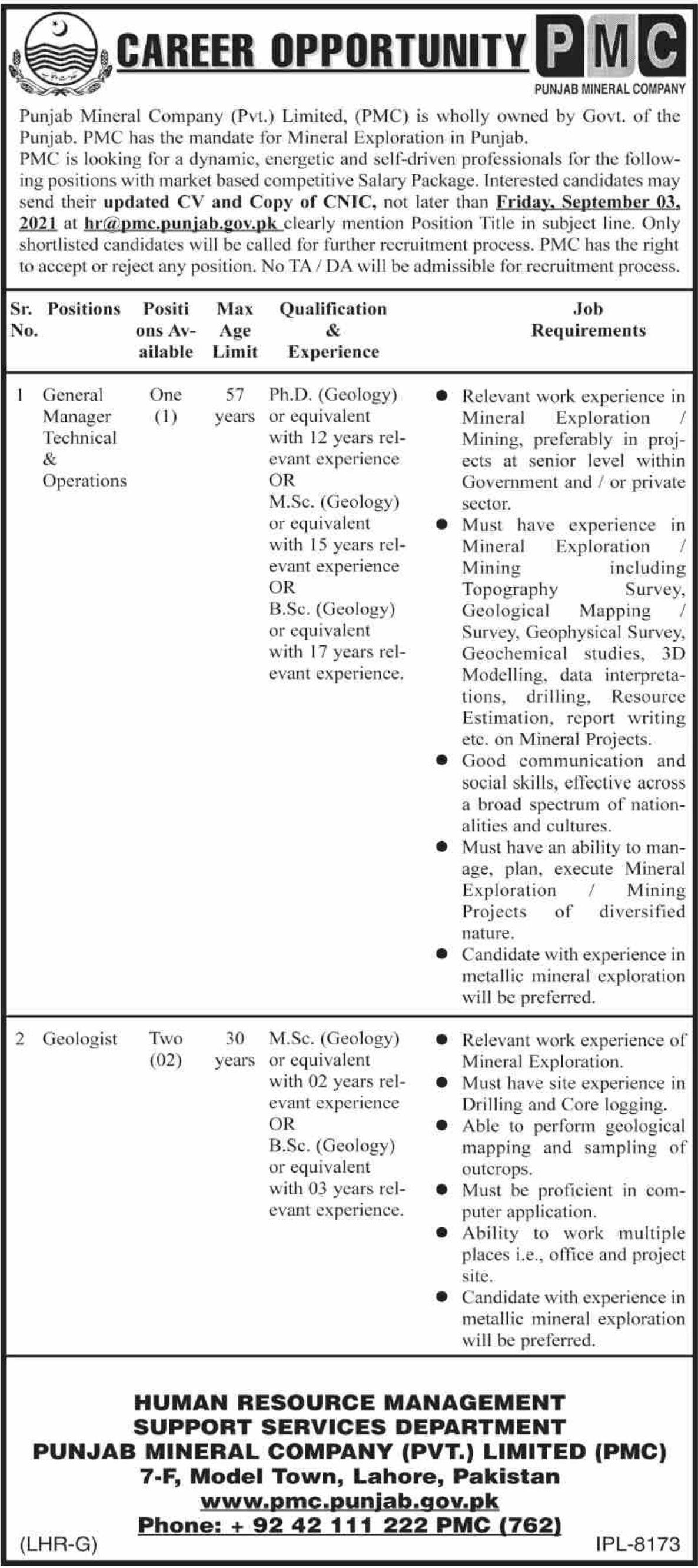 Punjab Mineral Company Pvt Limited PMC Vacancies 2021 2