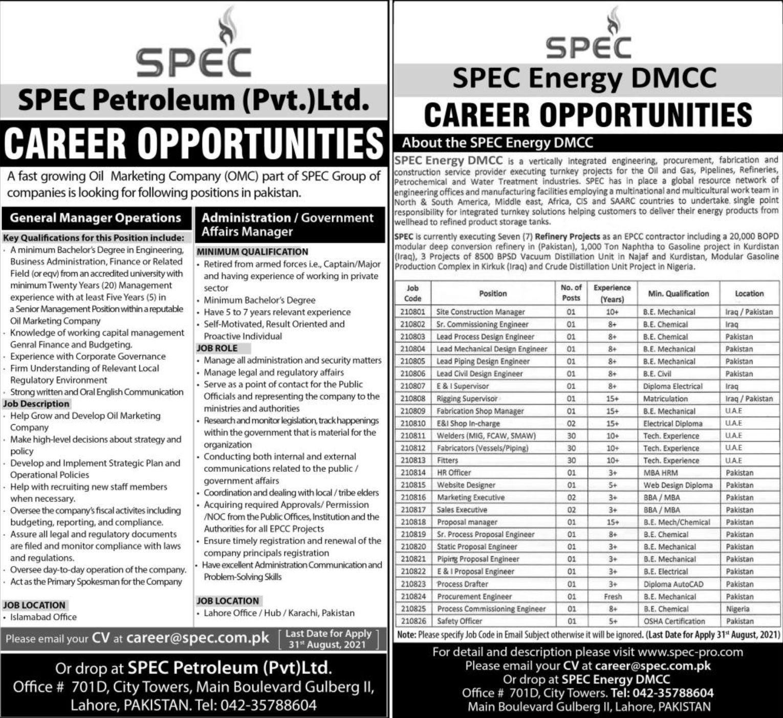 SPEC Petroleum Pvt Ltd Vacancies 2021 3