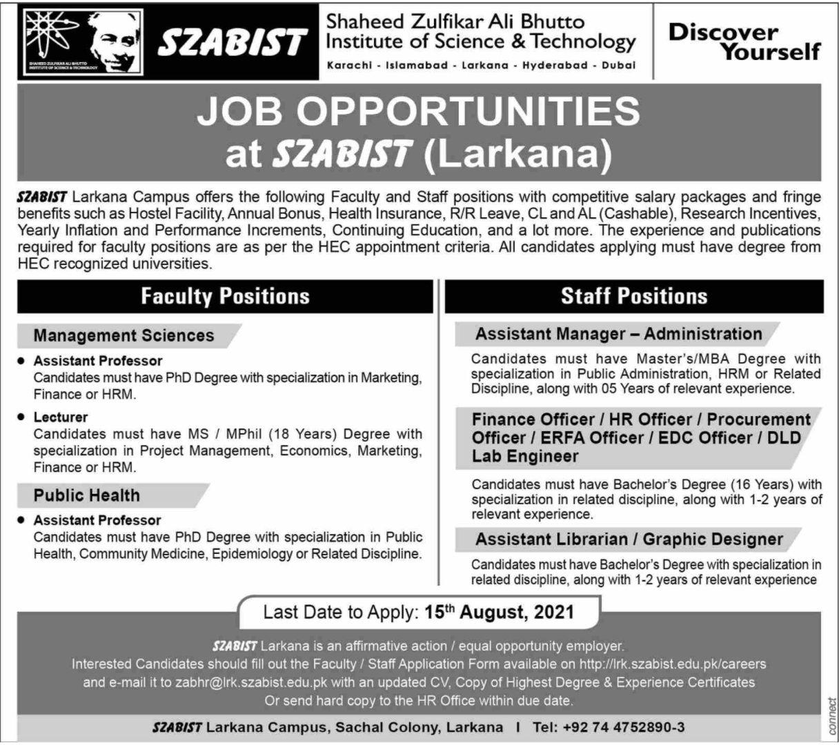 Shaheed Zulfikar Ali Bhutto Institute of Science & Technology Vacancies 2021 1