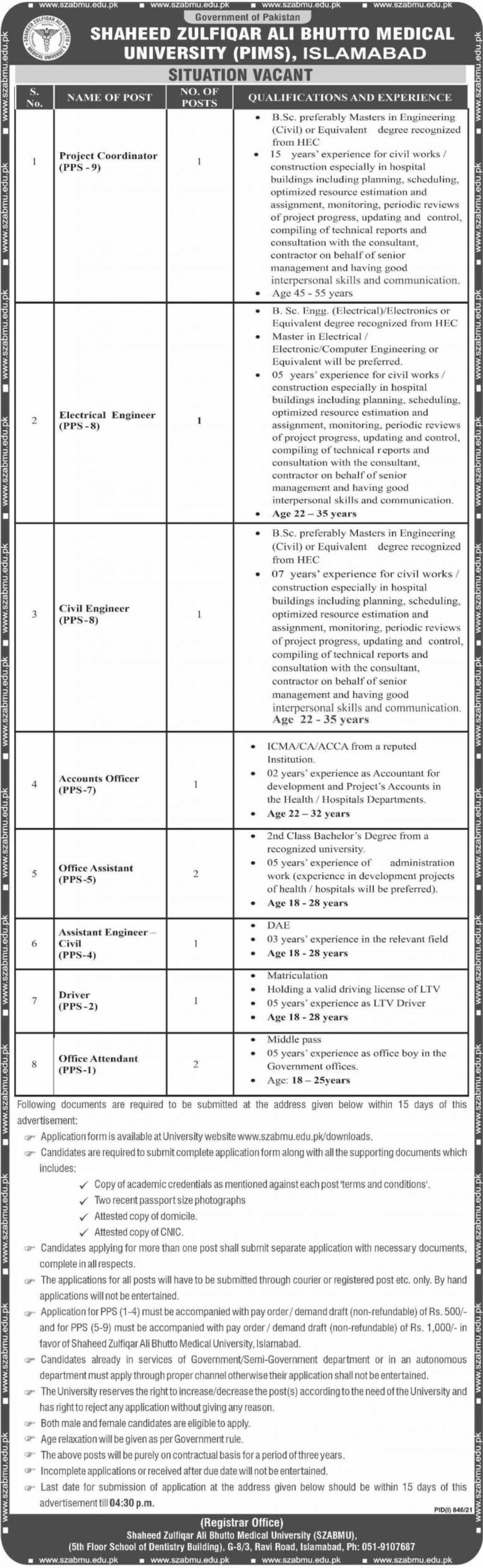 Shaheed Zulfiqar Ali Bhutto Medical University PIMS Vacancies 2021 2