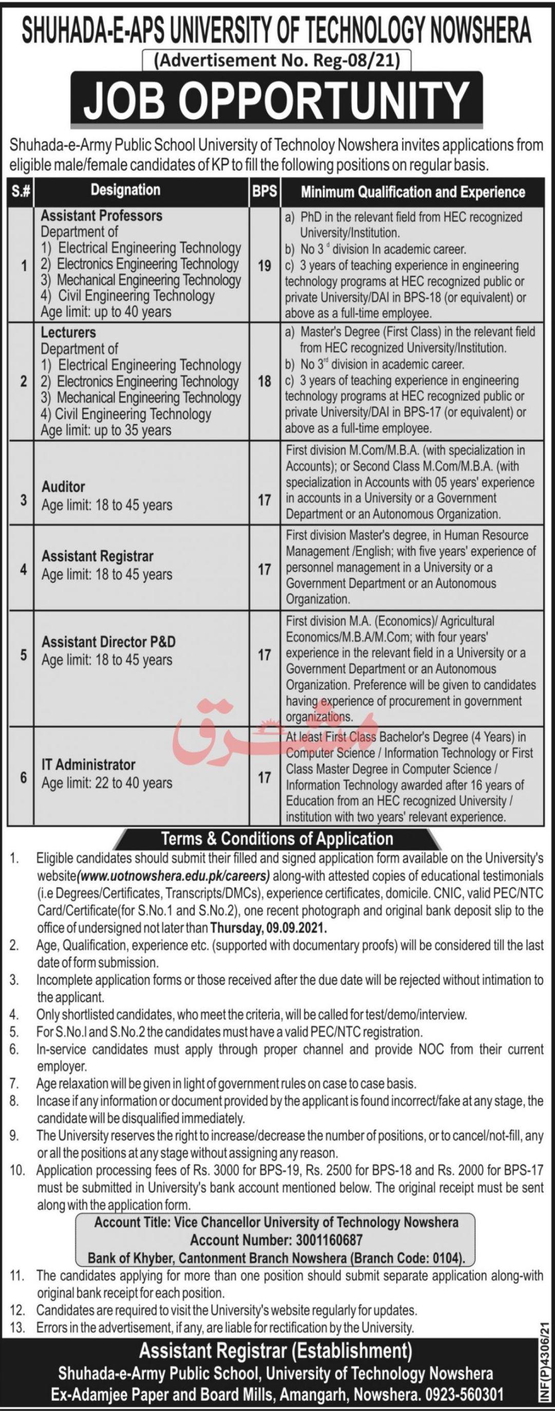 Shuhada-e-APS Uiversity of Technology Nowshera Vacancies 2021 2