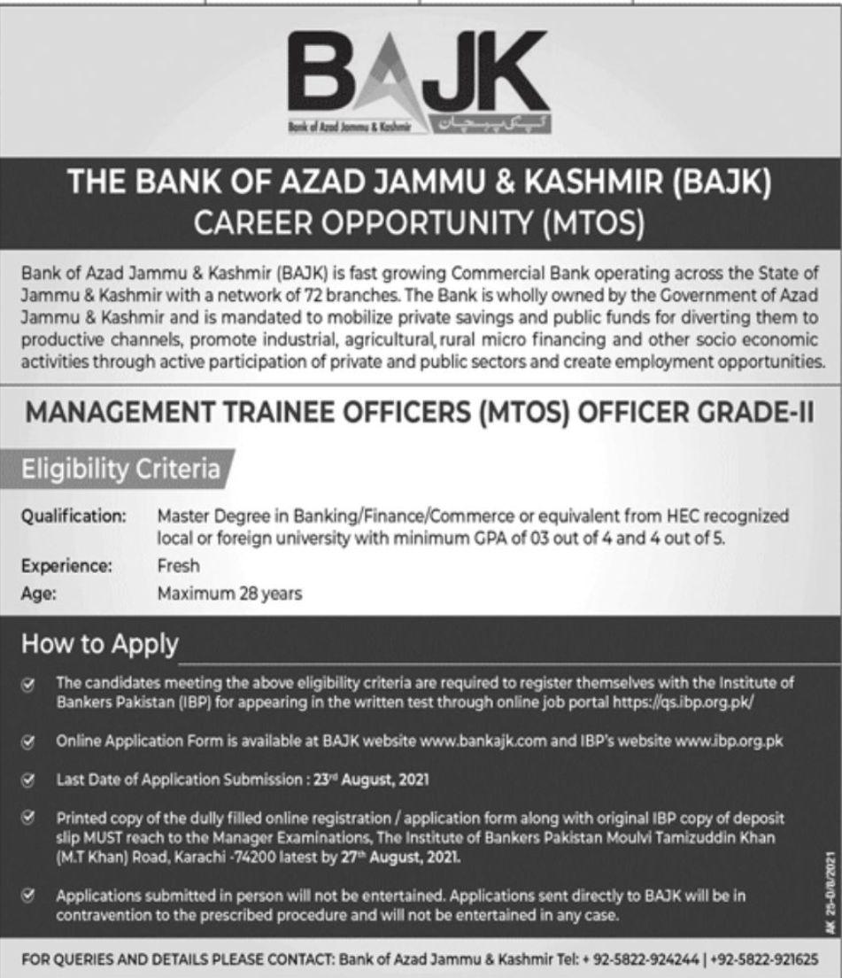 The Bank of Azad Jammu & Kashmir Vacancies 2021 3