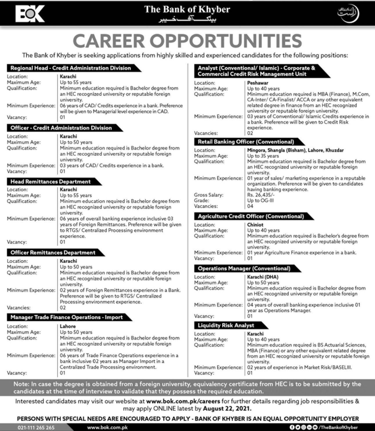 The Bank of Khyber Vacancies 2021 3