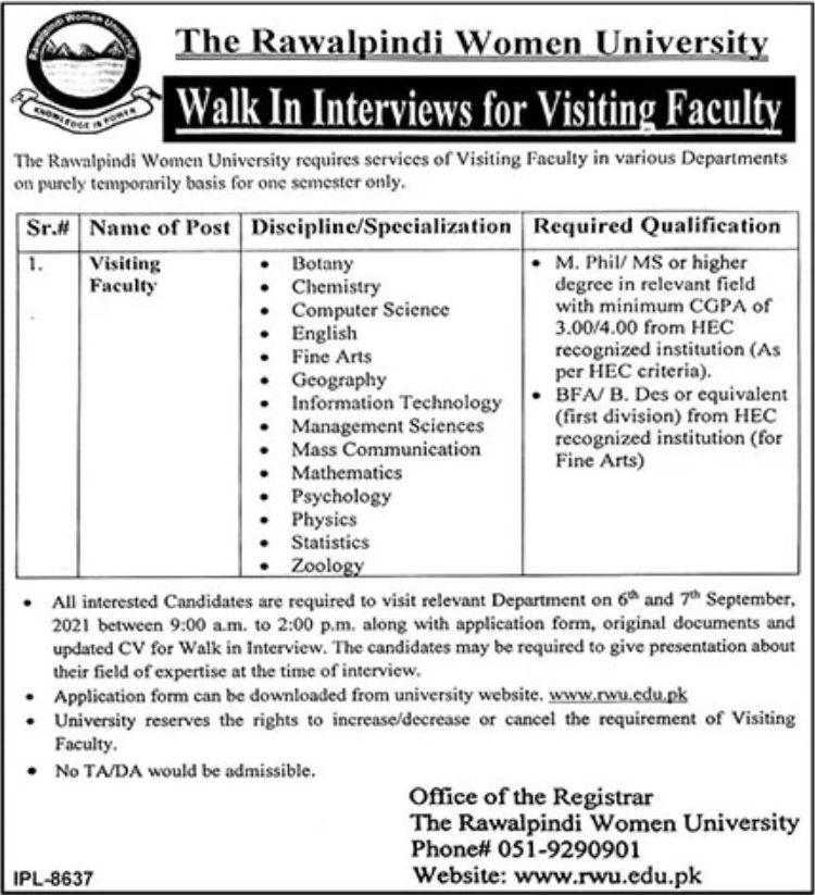 The Rawalpindi Women University Vacancies 2021 2