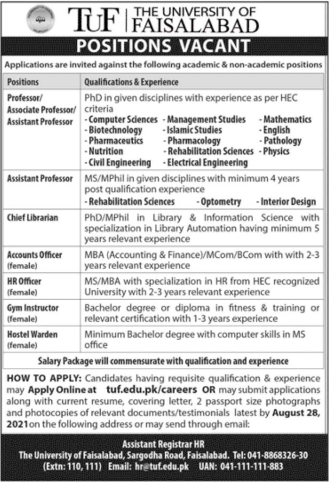 The University of Faisalabad Vacancies 2021 1
