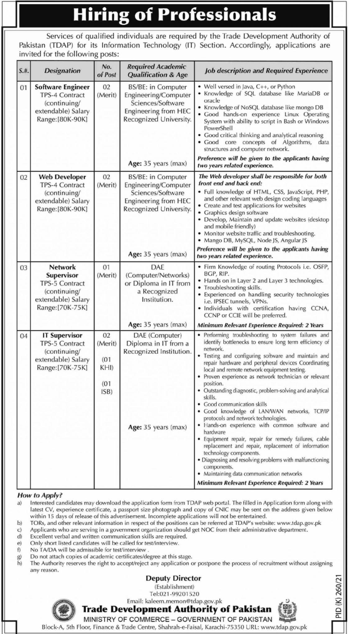 Trade Development Authority of Pakistan Vacancies 2021 3