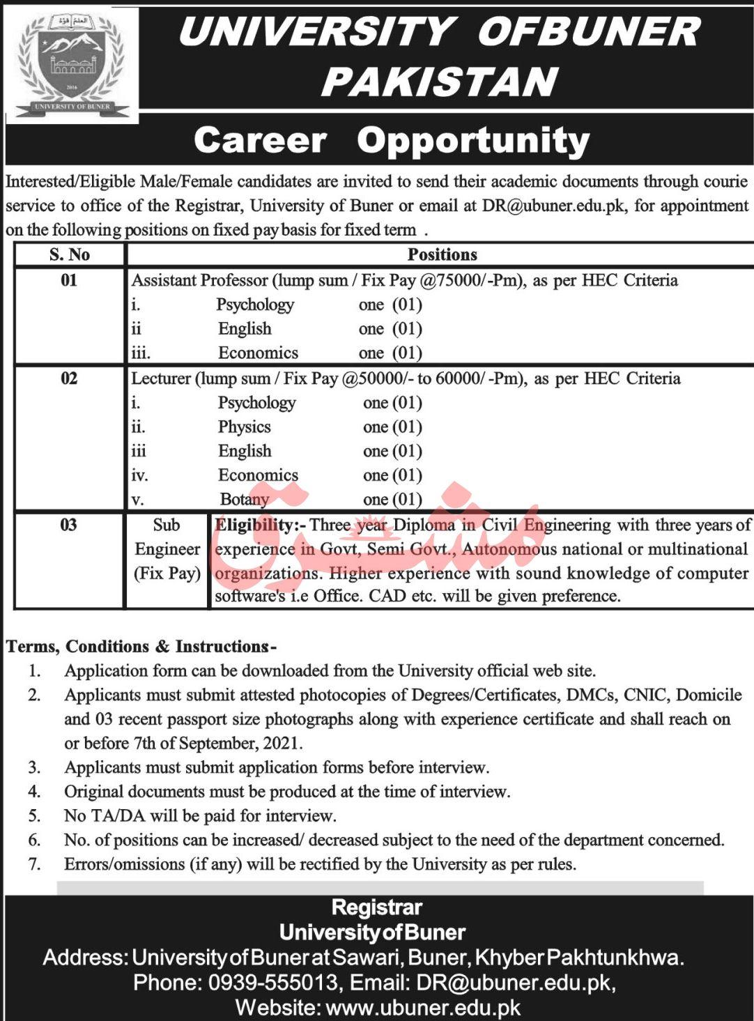 University of Buner Pakistan Vacancies 2021 2
