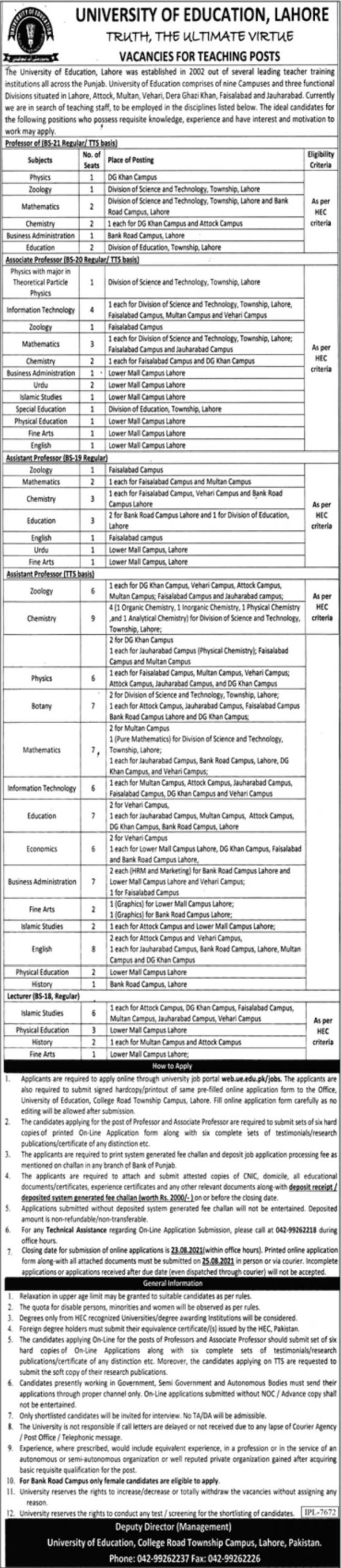 University of Education Lahore Vacancies 2021 1