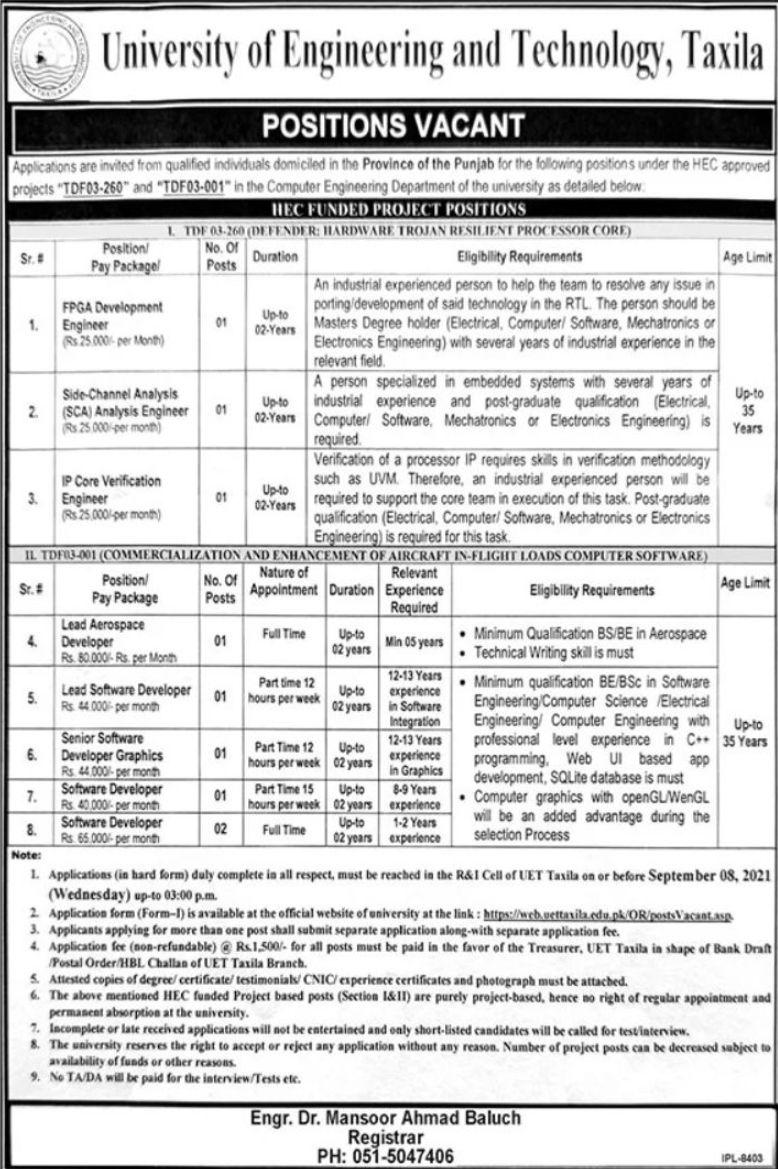 University of Engineering and Technology Taxila Vacancies 2021 2