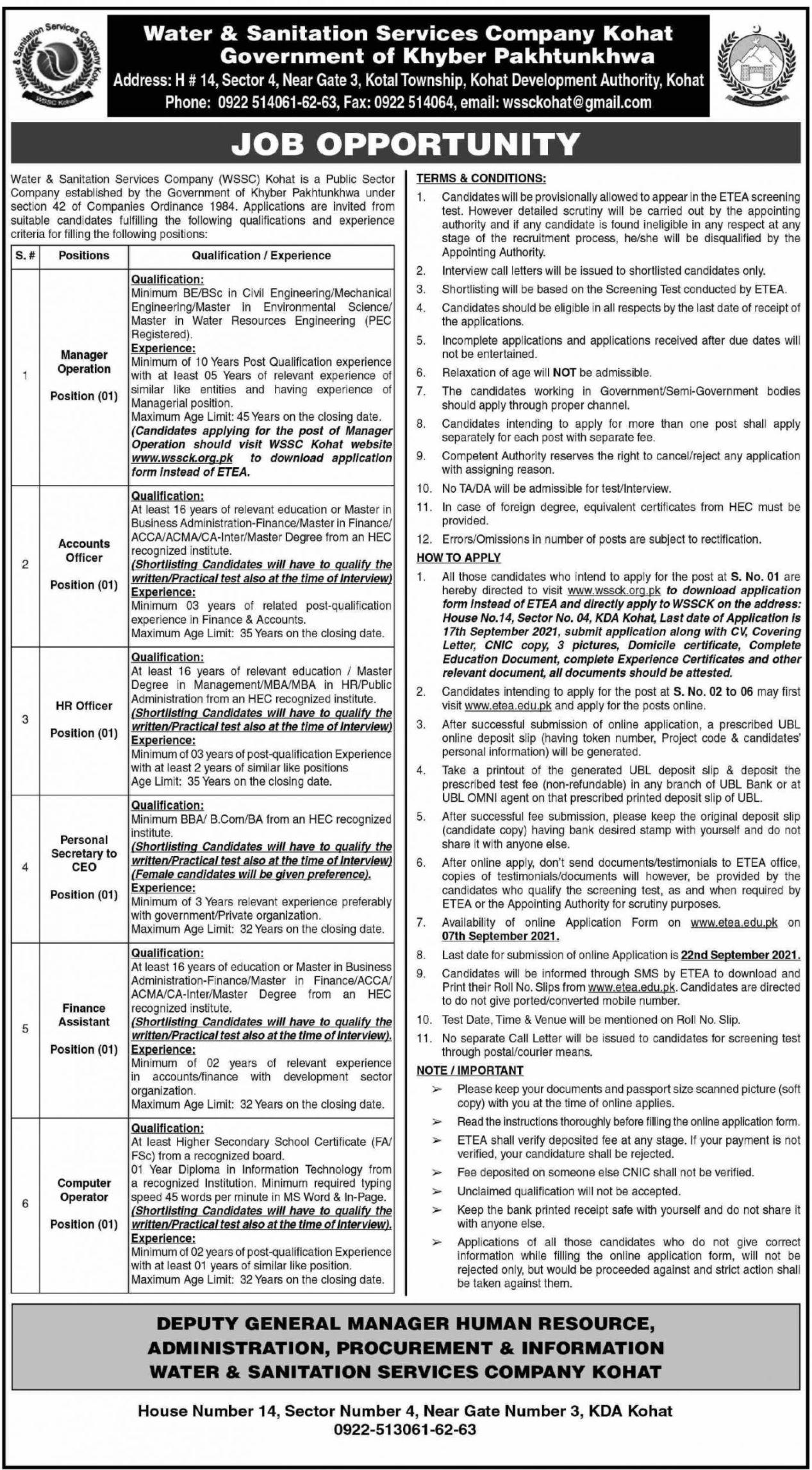 Water & Sanitation Services Company Kohat Vacancies 2021 2