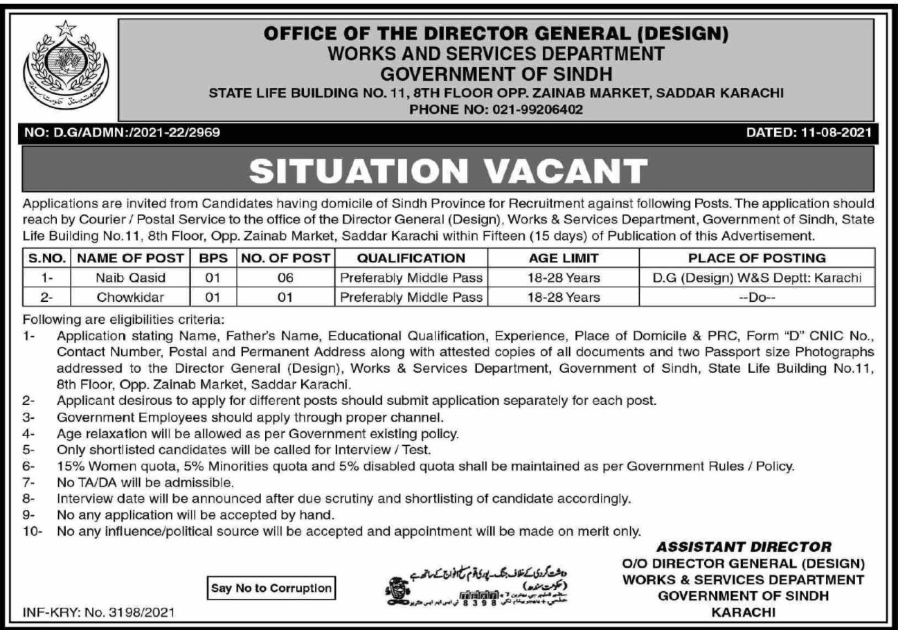 Works and Services Department Government of Sindh Vacancies 2021 2