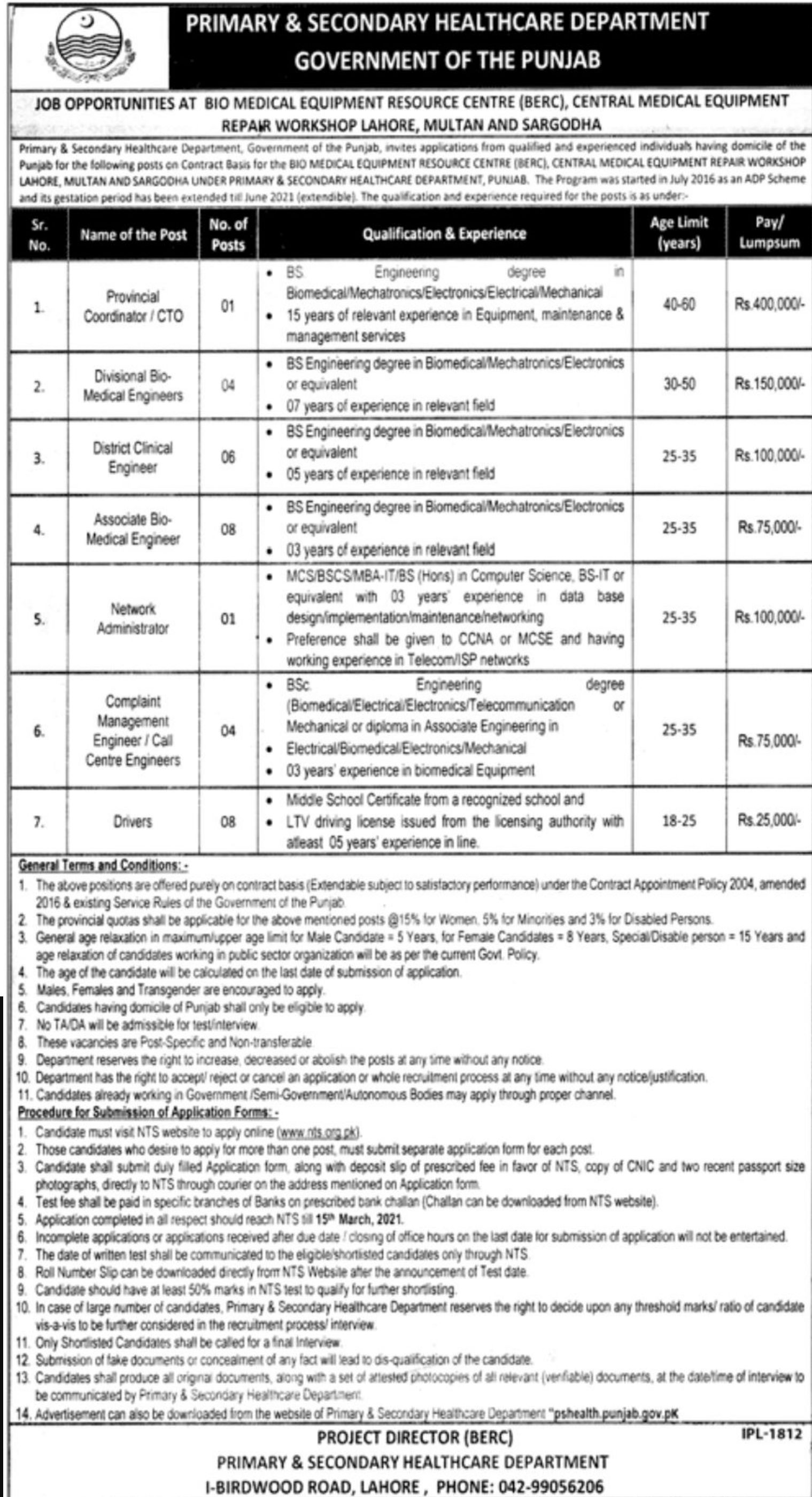 Government of the Punjab Primary & Secondary Healthcare Department Jobs 2021