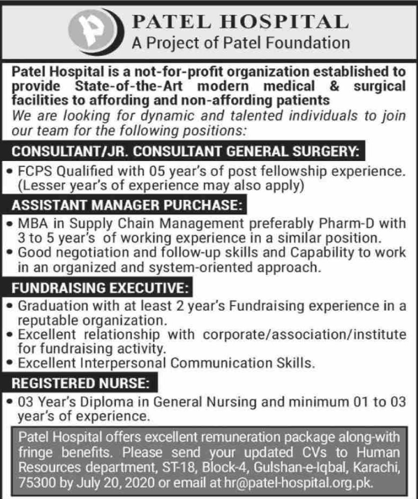 Patel Hospital Vacancies 2020 | Dailyjobs.pk
