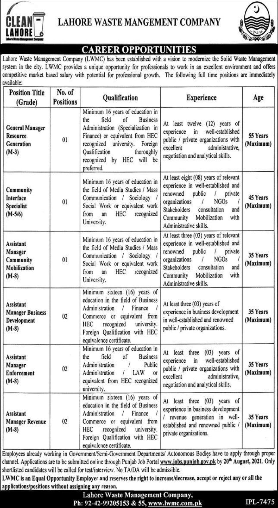 Lahore Waste Management Company Vacancies 2021 1